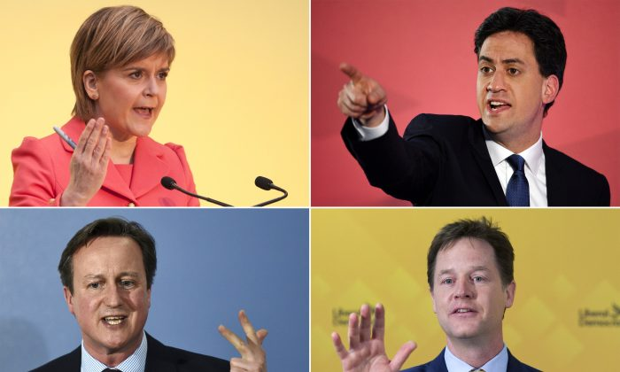 A combination picture shows (top L-R) Scottish National Party leader Nicola Sturgeon, Opposition Labour leader Ed Miliband (bottom L-R) British Prime Minister and leader of the Conservatives David Cameron and Deputy Prime Minister and leader of the Liberal Democrats Nick Clegg campaigning in the run up to the UK elections. (AFP/Getty Images)
