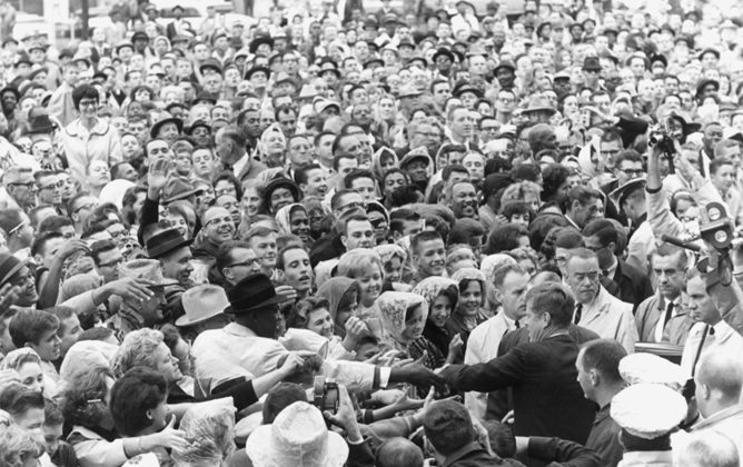 Hoards of Jack Kennedy fans would greet the candidate during his 1960 campaign for President. (Wikimedia Commons)