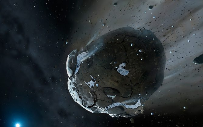 Artist's view of a watery asteroid heading to a white dwarf star. (ESA/Hubble, CC BY)