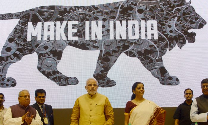 "Indian Prime Miniser Narendra Modi (C) launches the ""Make In India"" project in New Delhi on Sept. 25, 2014. (RAVEENDRAN/AFP/Getty Images)"