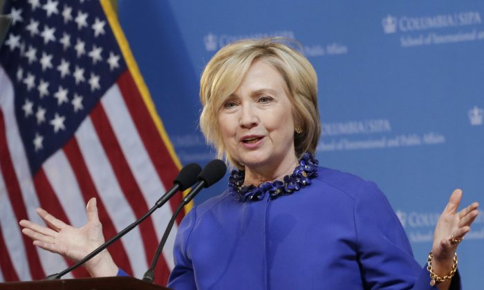 Democratic presidential hopeful former Sen. Hillary Rodham Clinton speaks at the David N. Dinkins Leadership and Public Policy Forum in New York, April 29, 2015. (AP Photo/Mark Lennihan)