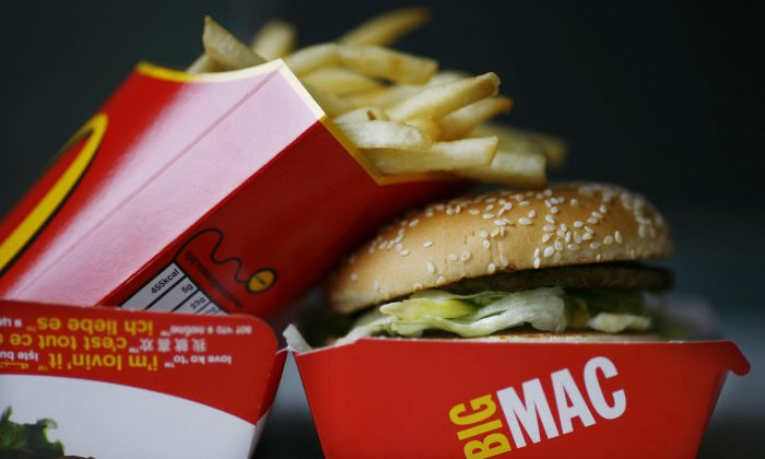 A Big Mac hamburger and french fries are pictured in a McDonald's fast food restaurant in Central London on August 6, 2008.  (Ben Stansall/AFP/Getty Images)
