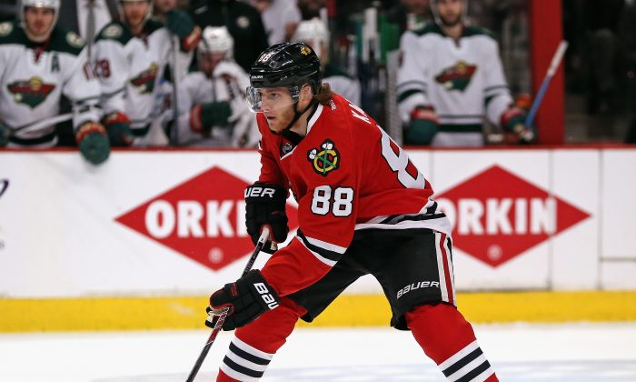 Patrick Kane of the Chicago Blackhawks in action against the Minnesota Wild in Game 1 of the Western Conference semifinal at the United Center on May 1, 2015 in Chicago. (Jonathan Daniel/Getty Images)