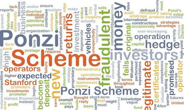 A worldcloud illustration of a Ponzi scheme. (iStock)