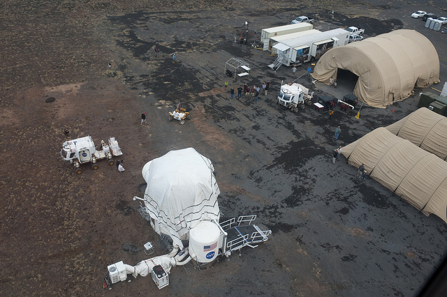The Desert Reseach and Technology Studies group set up a compound in the Arizona desert simulating a mission to an asteroid in 2011. (NASA)