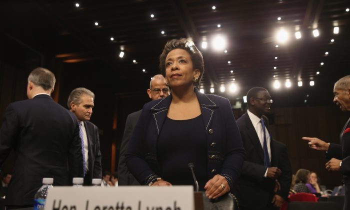 U.S. Attorney for the Eastern District of New York Loretta Lynch arrives for her confirmation hearing before the Senate Judiciary Committee on Capitol Hill on Jan. 28, 2015. ( Mark Wilson/Getty Images)