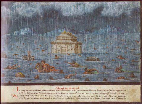 Augsburger Wunderzeichenbuch, Folio 1 (Genesis 7:11-14), 1552. (Wikimedia Commons)