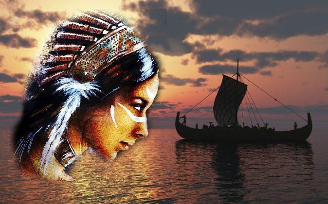 Illustration of a Native American woman ( Jozef Klopacka/iStock) Viking ship replica (Sylphe_7/iStock)