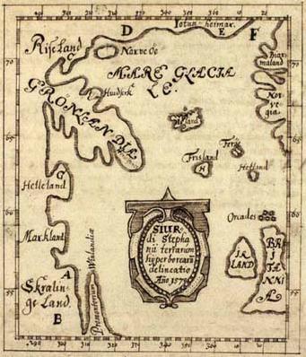 """The Skálholt Map made by the Icelandic teacher Sigurd Stefansson in the year 1570. Helleland (""""Stone Land"""" = Baffin island), Markland (""""Forest Land"""" = Labrador), Skrælinge Land (""""Land of the Foreigners"""" = Labrador), Promontorium Vinlandiæ (Newfoundland). (Public Domain)"""