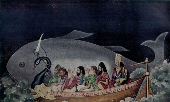 Matsya protecting Svayambhuva Manu and the seven sages at the time of the great deluge, a painting by Ramanarayanadatta astir. (Public Domain/ Wikimedia Commons)
