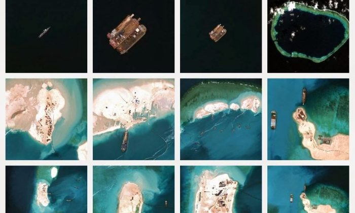 Images of China's land reclamation activities on Mischief Reef in the Spratly Islands, as of early 2015. The United States has warned that it would not respect the claims to sovereignty and territorial waters that China expects the islands to assert. (Screenshot via Asia Maritime Transparency Initiative)