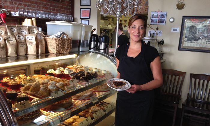 Anna Madden, pastry chef and co-owner of Something Sweet cafe in Minddletown on May 6, 2015. (KatiVereshaka/Epoch Times)