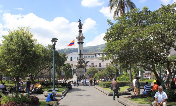 Quito's central public square, Plaza de la Independencia, is flanked by the Carondelet Palace, Metropolitan Cathedral, Archbishop's Palace, Municipal Palace, and Plaza Grande Hotel. (Wibke Carter)