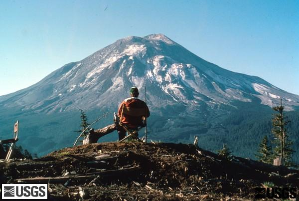 A USGS geologist at Coldwater II observation post watching Mount St. Helens. (USGS)