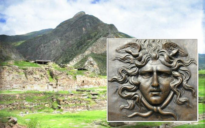 Right: Gorgon (Andrea Astes/iStock) Background: Chavin de Huantar ruins in Peru, where one researcher says the mythical home of the ancient Greek Gorgon may have been. (Sharon odb/Wikimedia Commons)