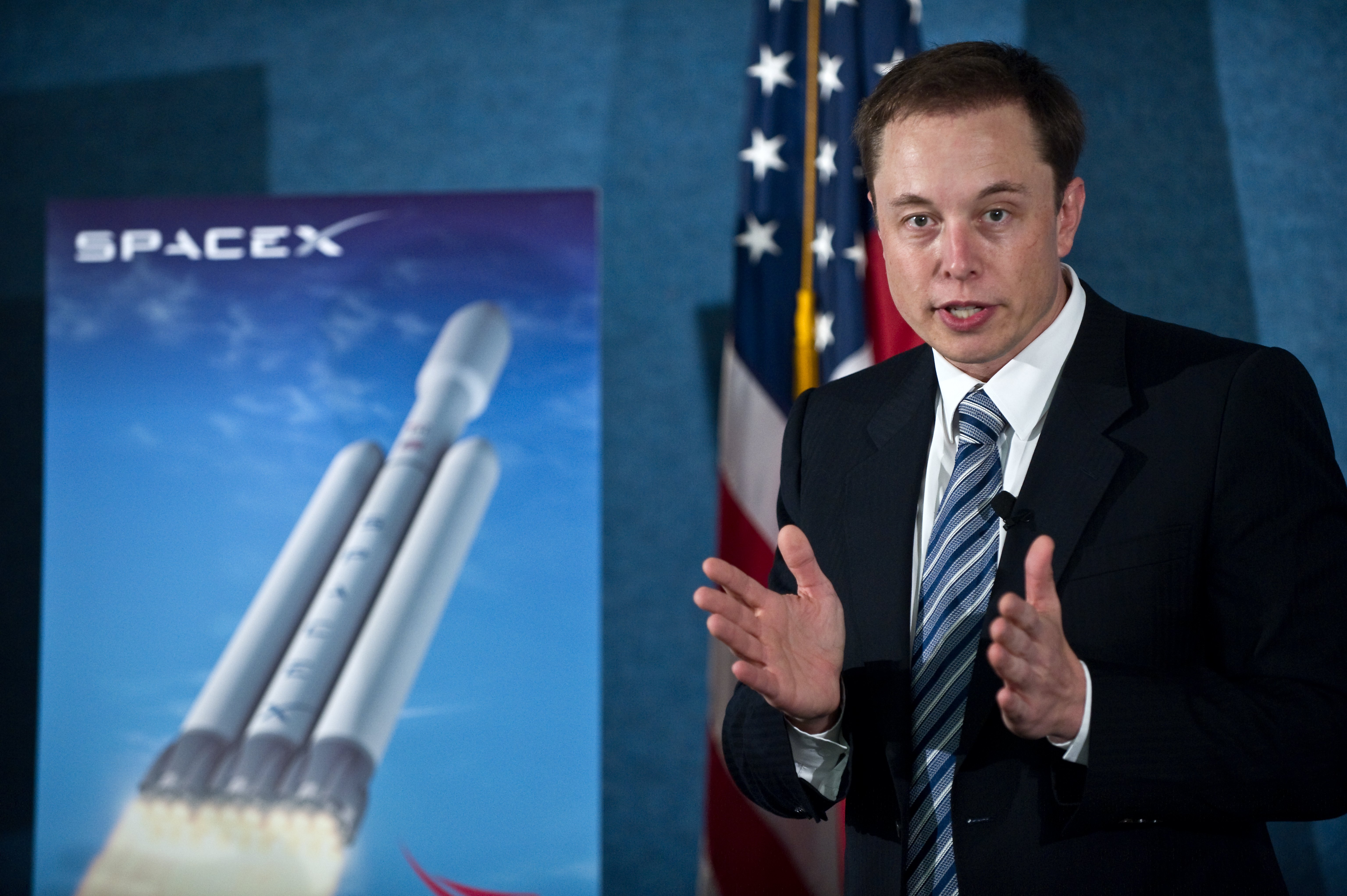 SpaceX CEO Elon Musk unveils the Falcon Heavy rocket at the National Press Club in Washington on April 5, 2011. (NICHOLAS KAMM/AFP/Getty Images)