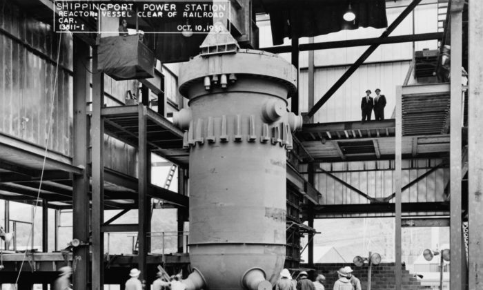 Reactor pressure vessel during construction of Shippingport Atomic Power Station in Pennsylvania, 1956. (Wikimedia Commons)