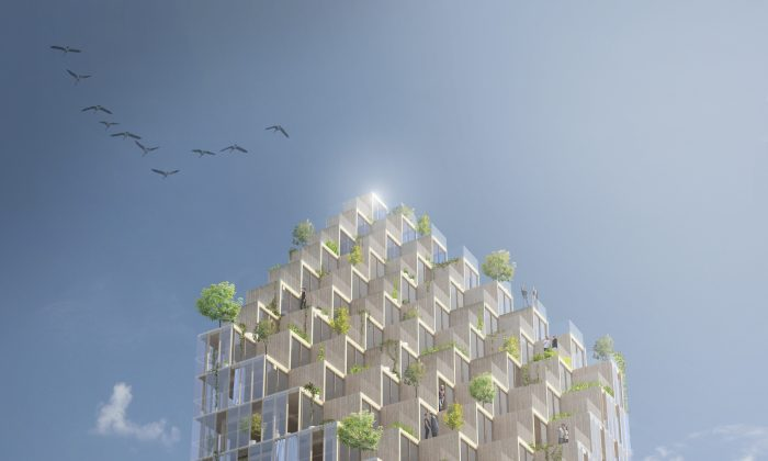 The 34-storey timber tower planned for Stockholm. (Berg | C.F. møller Architects)