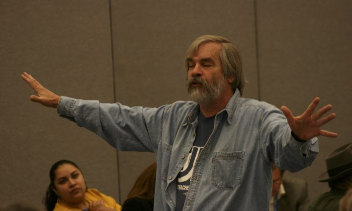 1.	Ernest Kettenring, a long-time teacher and education activist in the Los Angeles Unified School District, speaks at a union meeting. Kettenring will be retiring next month. (John Mears)