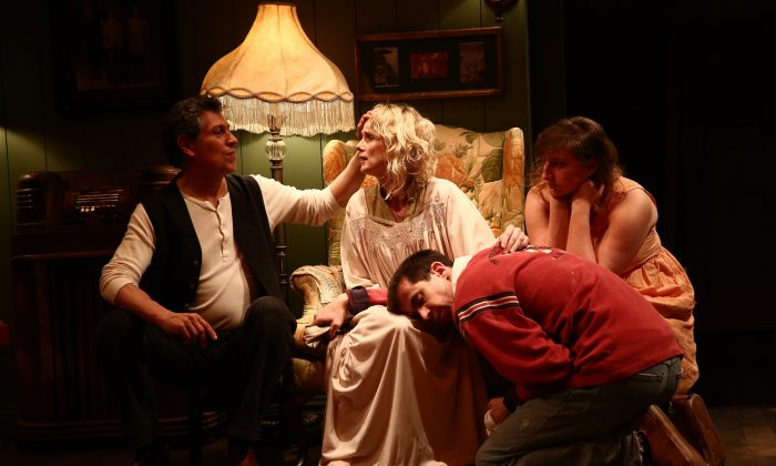 "(L –R) Randolf Curtis Rand, Lucy Taylor, Aaron Landsman, and Rosie Goldensohn as they appear in ""The Sound and the Fury,"" with text by William Faulkner and production created and performed by Elevator Repair Service.  (Paula Court)"