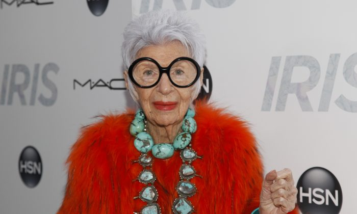 "Iris Apfel at the premiere of ""Iris"" at the Paris Theatre in New York on April 22, 2015. (Andy Kropa/Invision/AP)"