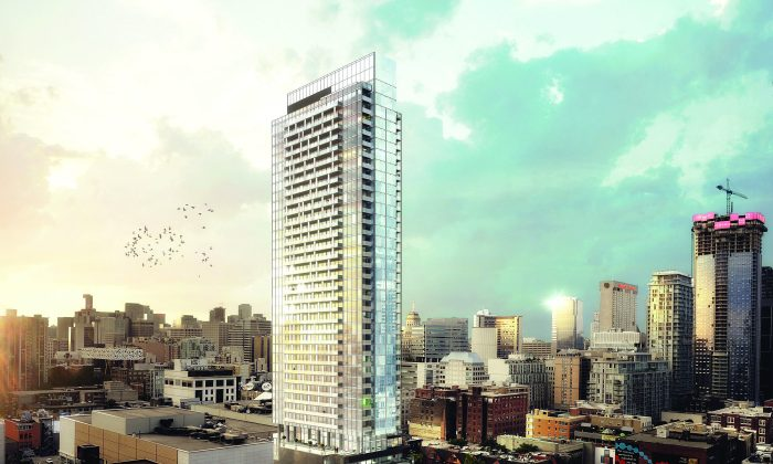 Rendering of The Bond, a 42-storey condo currently under construction on Adelaide Street just west of John Street in Toronto. (Courtesy of Lifetime Developments)