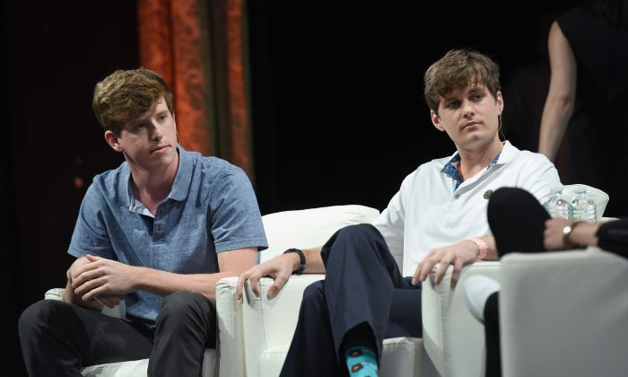 Co-founder and COO of Yik Yak Brooks Buffington (L), and co-founder and CEO of Yik Yak Tyler Droll speak onstage during TechCrunch Disrupt NY 2015 at The Manhattan Center in New York City on May 5, 2015. (Noam Galai/Getty Images for TechCrunch