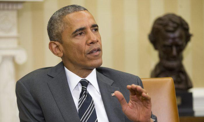 President Barack Obama speaks in the Oval Office of the White House in Washington.  (AP Photo/Pablo Martinez Monsivais)
