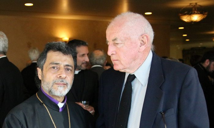 Archbishop Hovnan Derderian (L) with Shelley B. Blank at the Cathedral of Our Lady of Los Angeles on April 14. (Shelley B. Blank)
