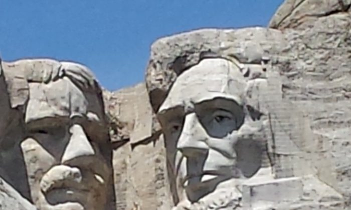 Teddy Roosevelt's face on Mount Rushmore in the Black Hills of South Dakota. (John Nania/Epoch Times)