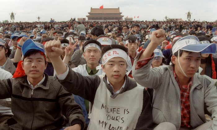 Students from Beijing University stage a huge demonstration 18 May 1989 at Tiananmen Square as they start an unlimited hunger strike as the part of mass pro-democracy protest against the Chinese government. (Catherine Henriette/AFP/Getty Images)