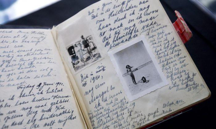 A facsimile of Anne Frank's diary at Anne Frank House in Amsterdam on June 11, 2009. (AP Photo/Evert Elzinga)