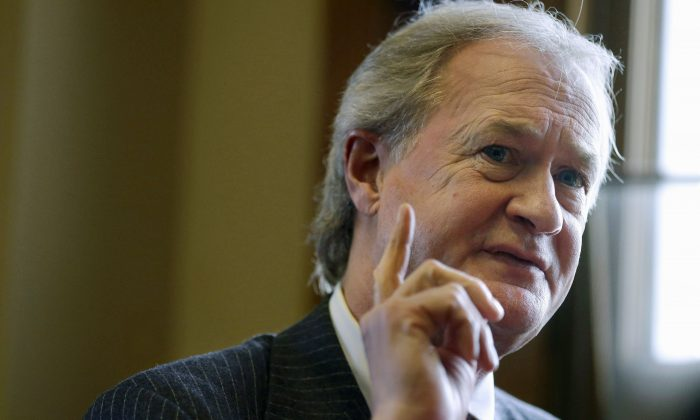 Rhode Island Gov. Lincoln Chafee responds to questions during an interview with The Associated Press in his office at the Statehouse, in Providence, R.I. The former Rhode Island Governor plans to formally open his campaign for the Democratic presidential nomination on Wednesday, June 3, 2015, setting off on a quixotic political quest that has left even some of his closest allies scratching their heads. (AP/Steven Senne)