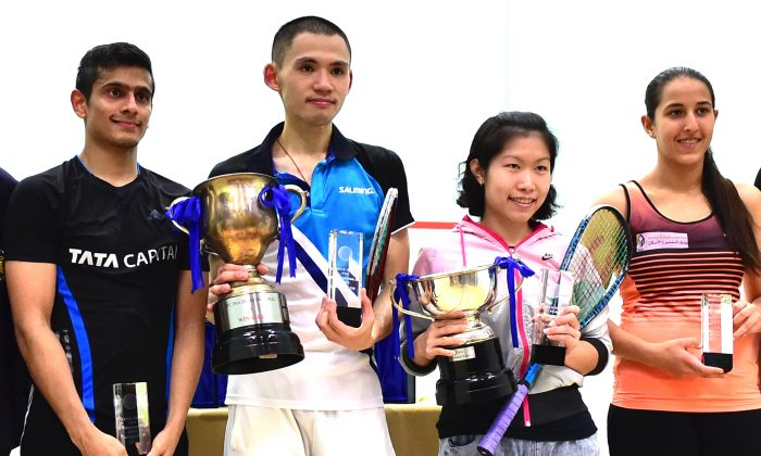 Finalist in the HKFC/Meco PSA/WSA 25 tournament which concluded on Saturday May 30, 2015. (L to R) Saurav Ghosal (India), Max Lee (Hong Kong), Annie Au (Hong Kong) and Habiba Mohamed (Egypt). (Bill Cox/Epoch Times)