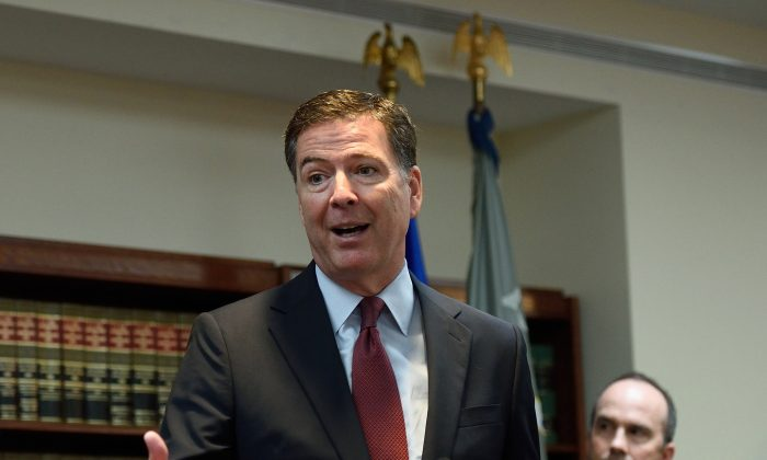 FBI Director James B. Comey speaks during the announcement of charges against FIFA officials at a news conference in New York on May 27, 2015. (Don Emmert/AFP/Getty Images)