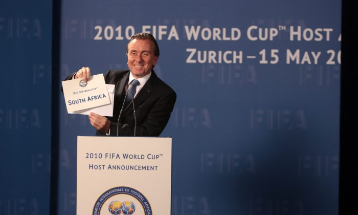 "This image released by Screen Media Films shows Tim Roth as Sepp Blatter in a scene from ""United Passions."" (David Koskas/Screen Media Films via AP)"
