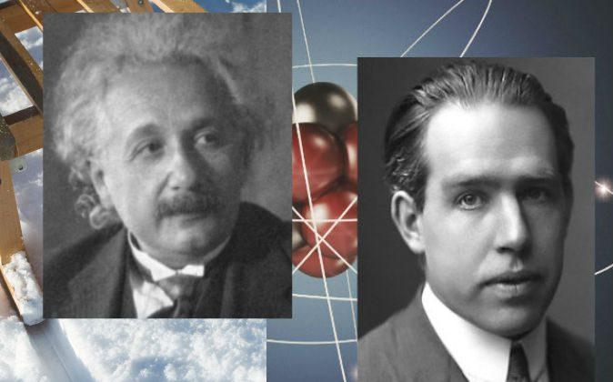 Neils Bohr, ca. 1922 (R) and Albert Einstein.  (Neils Bohr: AB Lagrelius & Westphal; Albert Einstein: Public domain; Background: Alexander Bedrin/iStock)