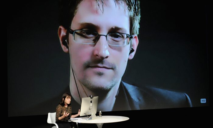 General view of atmosphere at the Edward Snowden Interviewed by Jane Mayer at the MasterCard stage at SVA Theatre during The New Yorker Festival 2014 on October 11, 2014 in New York City. (Bryan Bedder/Getty Images)