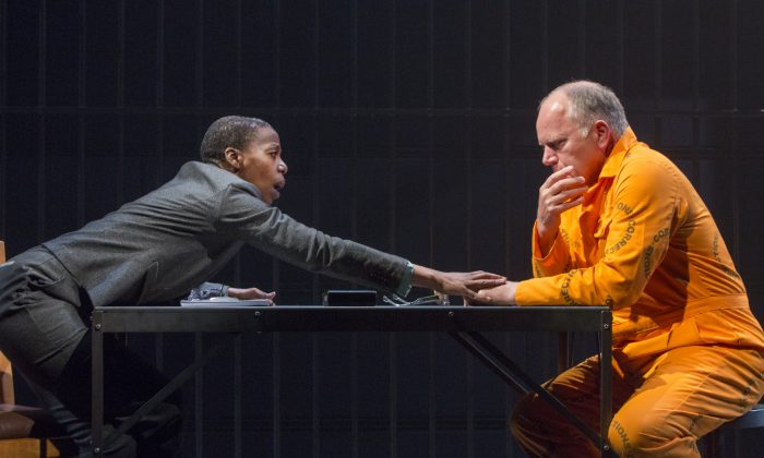 "Psychologist Pumla Gobodo-Madikizela (Noma Dumezweni) reaches out to convicted killer Eugene de Kock (Matthew-Marsh) in an American premiere of ""A Human Being Died That Night."" (Richard-Termine)"