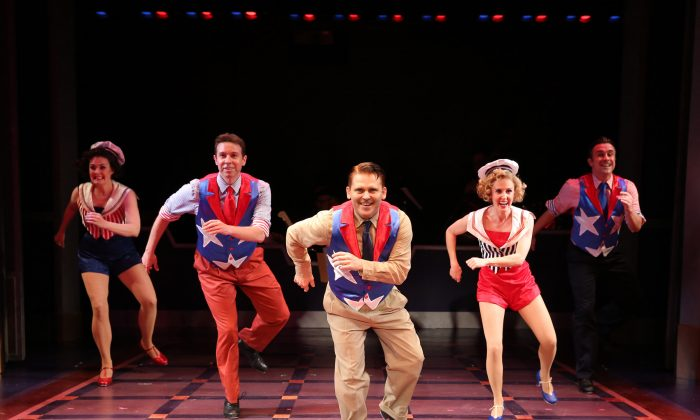 (L–R) Danette Holden, Jeremy Benton, Robert Creighton as the legendary James Cagney, Ellen Zolezzi and Josh Walden tapping up a storm in a musical that pays as much homage to tap as to the title's namesake. (Carol Rosegg)
