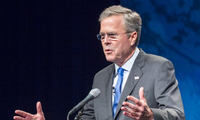 Former Florida Gov. Jeb Bush speaks in Nashville, Tenn. As Jeb Bush focuses on foreign policy this week during a visit to Europe, his team at home is finalizing a fundraising blitz that will begin as soon as he steps into the 2016 presidential race. (AP/Erik Schelzig)