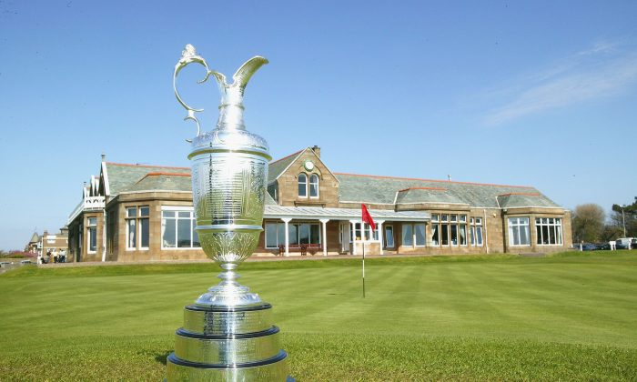 The Open Championship trophy is displayed on the 18th green prior to the Royal and Ancient Golf Club of St Andrews pre-Open Championship press conference, on April 27, 2004 in Troon, Scotland. (David Cannon/Getty Images)