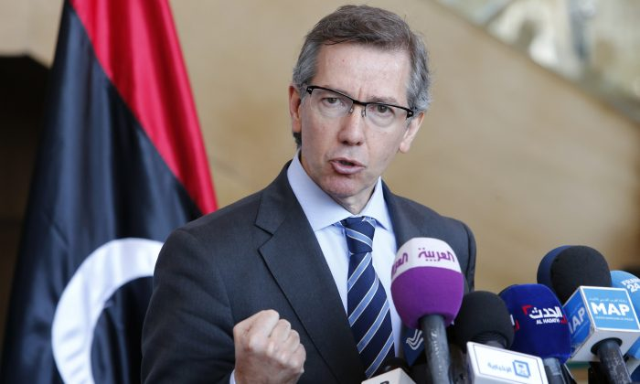 n this Friday, March 20, 2015 file photo, U.N. special envoy to Libya, Bernardino Leon, speaks during a press conference at the Palais des Congres of Skhirate, 30 kilometers (19 miles) south of Rabat, Morocco. (AP Photo/Abdeljalil Bounhar, File)