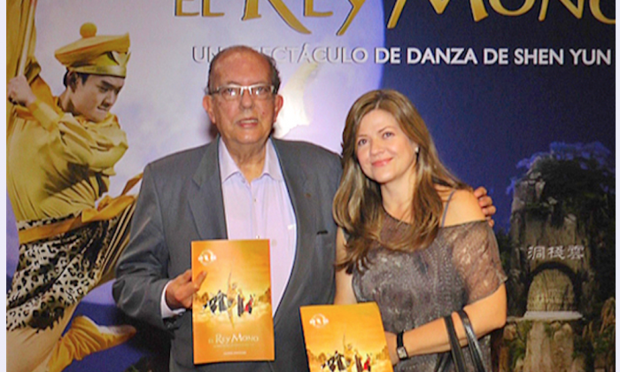 Juan Rafael Cárdenas Gutiérrez, chairman of the board at the Medellín Cultural Association and the Metropolitan Theater of Medellín, and María Patricia Marín Arango, director of Metropolitan Theater of Medellín, at the Metropolitan Theater of Medellín on May 20, 2015. (Courtesy of NTD Television)