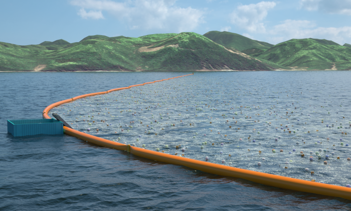 A prototype of The Ocean cleaning system. (The Ocean Cleanup)