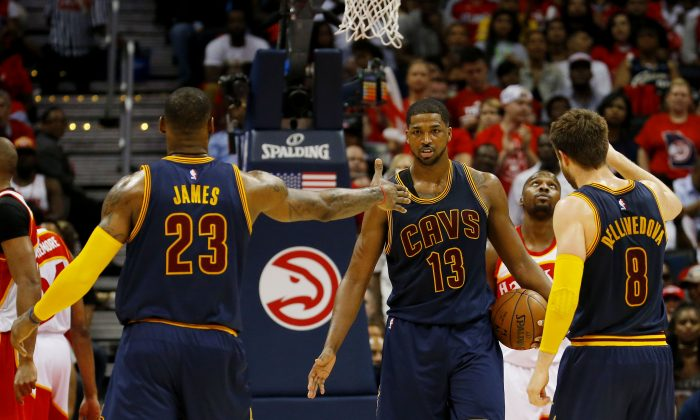 LeBron James (L), Tristan Thompson (C), and Matthew Dellavedova have the Cleveland Cavaliers on the verge of their first NBA Championship. (Kevin C. Cox/Getty Images)