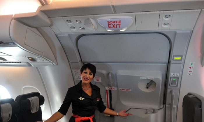 Flight attendant on an Air France Airbus 380, Oct. 30, 2009. (Eric Piermont/AFP/Getty Images)