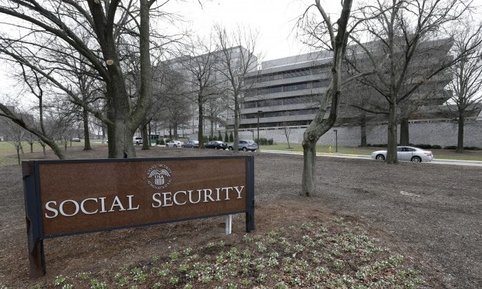 FILE - In this Jan. 11, 2013 file photo, the Social Security Administration's main campus is seen in Woodlawn, Md. (AP Photo/Patrick Semansky, File)