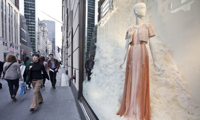 A window display at Bergdorf Goodman on 5th Avenue in New York City on April 10, 2013. (Samira Bouaou/Epoch Times)