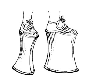 Line art drawing of a chopine, 16th-century Venetian platform shoe for women. (Wikimedia Commons)
